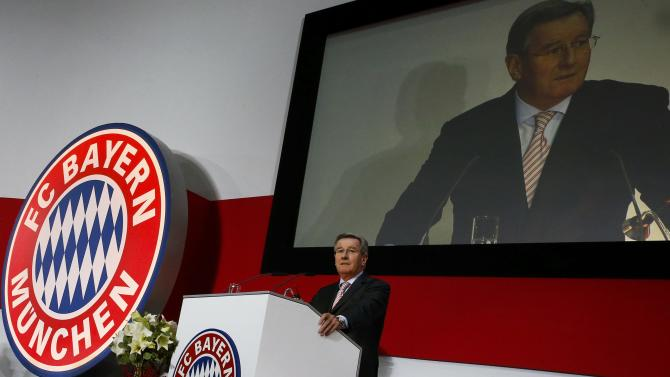 Bayern Munich's President Hopfner speaks during the annual general meeting of the German Bundesliga first division soccer club in Munich