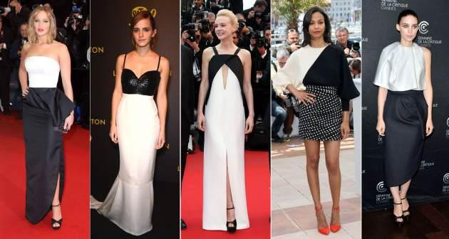 Black and white beauties at Cannes -- Jennifer Lawrence, Emma Watson, Carey Mulligan, Zoe Saldana and Rooney Mara -- WireImage