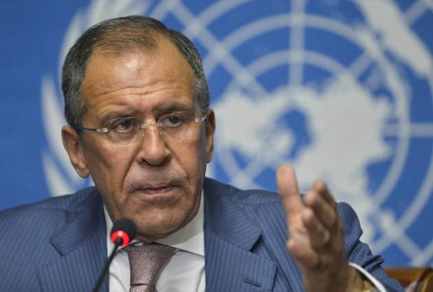 Russian Foreign Minister Sergei Lavrov speaks during a news conference following the Action Group on Syria meeting in the Palace of Nations, Saturday, June 30, 2012, at the United Nations' Headquarters in Geneva, Switzerland.