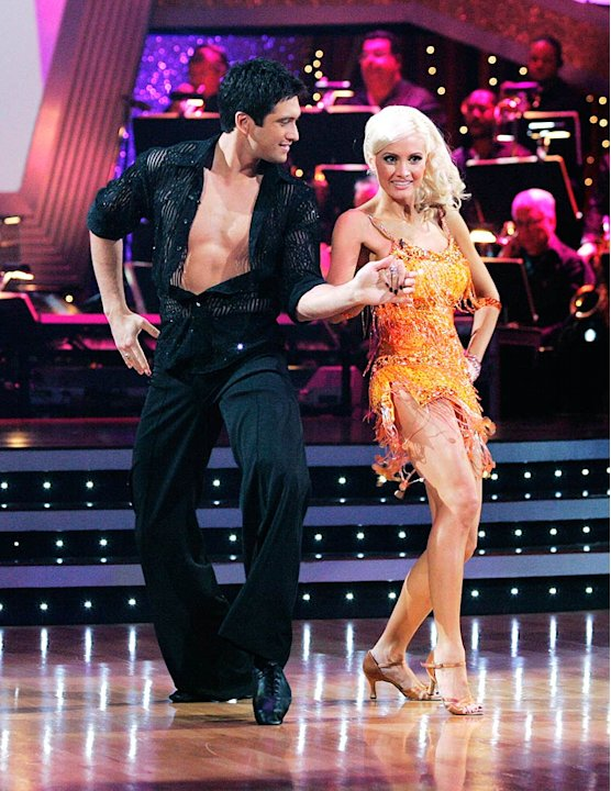 Holly Madison and Dmitry Chaplin perform the Cha-cha to &quot;Just Dance&quot; by Lady GaGa on &quot;Dancing with the Stars.&quot; 