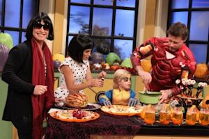 Dean McDermott shares his favorite Halloween recipes with Billy Bush (dressed as Katie Holmes) and Kit Hoover (dressed as Suri Cruise) on Access Hollywood Live on October 29, 2010 -- Access Hollywood