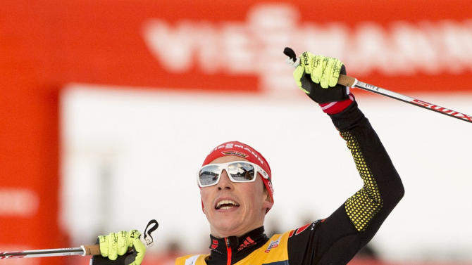 Frenzel of Germany celebrates winning the FIS World Cup Nordic Combined competition in Trondheim