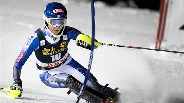 Mikaela Shiffrin of the U.S. competes during the first run of the FIS Alpine Ski World Cup women's slalom in Are
