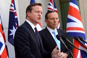 British Prime Minister David Cameron, left, and Australian …