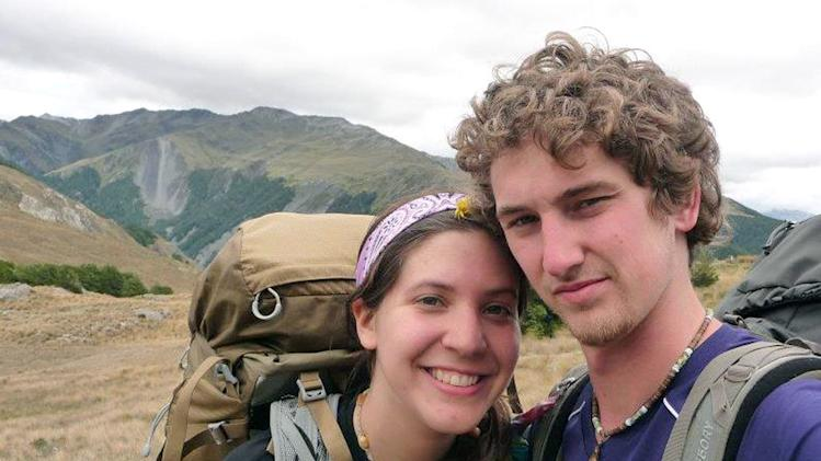 In this photo provided by Alec Brown, Alec, right, and his girlfriend Erica Klintworth pose near mountains at an unknown location. The two 21-year-old American students walked out of the New Zealand wilderness Sunday, June 10, 2012, after a snowstorm trapped them for nine days. (AP Photo/Alec Brown) EDITORIAL USE ONLY