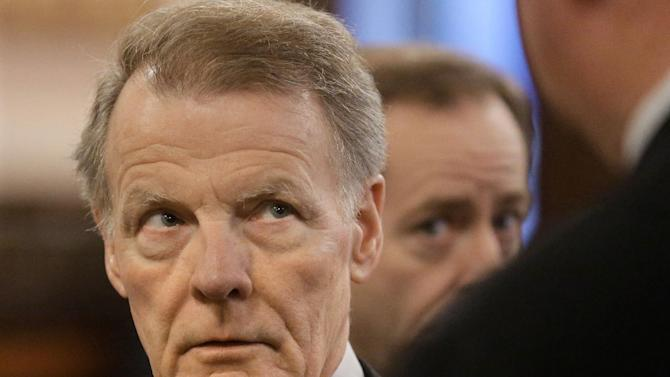 Illinois Speaker of the House Michael Madigan, D-Chicago, speaks to lawmakers during a Pension Committee hearing at the Illinois State Capitol Tuesday, Dec. 3, 2013, in Springfield, Ill. (AP Photo/Seth Perlman)