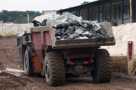 A truck exits the mine after collecting ore underground at the Chibuluma copper mine