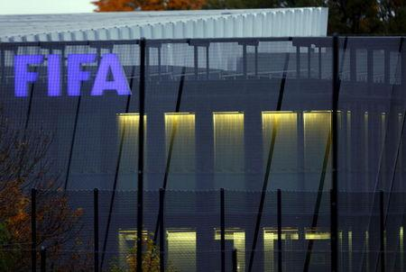 FIFA logo is seen in the early morning at their headquarters in Zurich