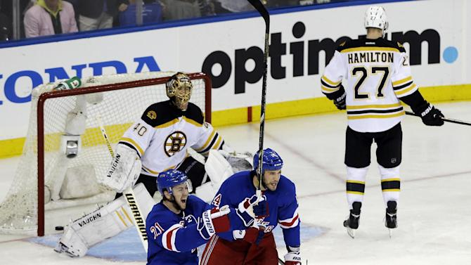 New York Rangers' Taylor Pyatt, right, and teammate Derek Stepan (21) celebrate after Pyatt scored a goal on Boston Bruins goalie Tuukka Rask (40), of Finland, during the second period in Game 3 of the Eastern Conference semifinals in the NHL hockey Stanley Cup playoffs Tuesday, May 21, 2013, in New York. (AP Photo/Frank Franklin II)