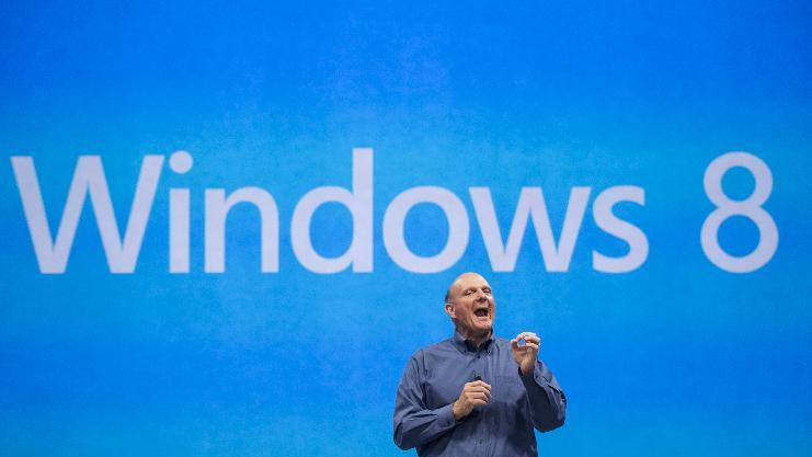 FILE- In this Monday, June 18, 2012, file photo, Microsoft CEO Steve Ballmer comments on the Windows 8 operating system before unveiling its new Surface, a tablet computer  to compete with Apple's iPad at Hollywood's Milk Studios in Los Angeles. Microsoft Corp. reports quarterly financial results after the market closes on Thursday, July 19, 2012. (AP Photo/Damian Dovarganes, File)
