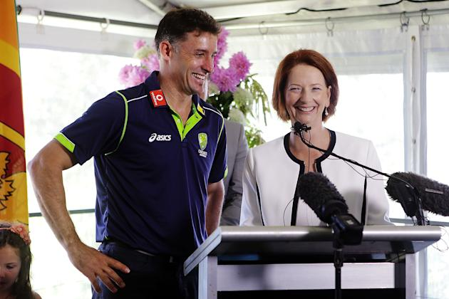 SYDNEY, AUSTRALIA - JANUARY 01:  Australian Prime Minister, Julia Gillard shares a joke with Michael Hussey of Australia during a function at Kirribilli House on January 1, 2013 in Sydney, Australia.
