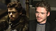 Richard Madden as Robb Stark (left), and in an interview with Access Hollywood (right) -- Access Hollywood/Helen Sloan/HBO