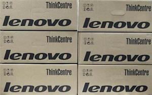 Boxes containing Lenovo desktop computers are seen in an office in Kiev