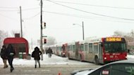 Seventeen buses were lined up at a Transitway booth Friday morning. Poor driving conditions led to many delays.