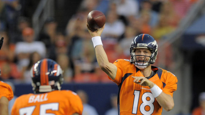 Denver Broncos quarterback Peyton Manning (18) throws to Lance Ball (35) in the first half of an NFL football preseason game against the Seattle Seahawks, Saturday, Aug. 18, 2012, in Denver. (AP Photo/Jack Dempsey)