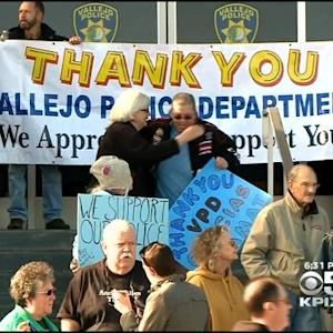 Pro-Police Demonstration On Steps Of Vallejo Police Department