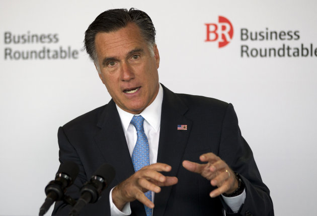 Republican presidential candidate, former Massachusetts Gov. Mitt Romney speaks during the Business Roundtable quarterly meeting at the Newseum in Washington, Wednesday, June 13, 2012.  (AP Photo/Evan