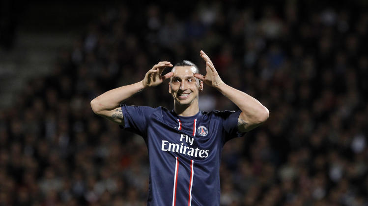 Paris Saint Germain's Zlatan Ibrahimovic reacts during their French League One soccer match against Lyon, in Lyon, central France, Sunday, May 12, 2013. (AP Photo/Laurent Cipriani)