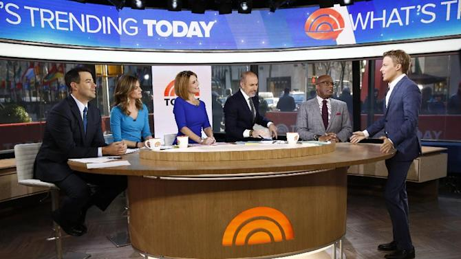 "This Feb. 24, 2014 photo released by NBC shows, from left, Carson Daly, Natalie Morales, Savannah Guthrie, Matt Lauer, Al Roker, and Ronan Farrow on ""Today,"" in New York. After winning in the ratings for two weeks during the Winter Olympics _ NBC's first weekly wins since the London games in summer 2012 _ the ""Today"" show has kept some of its momentum now that Matt Lauer, Savannah Guthrie and the team are back in the New York studio. (AP Photo/NBC, Peter Kramer)"
