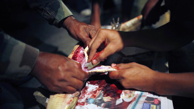 In this Dec. 5, 2012 photo, Shalepxis Morales uses a razor to peel the skin of a recently killed caiman with the help of his grandfather Daniel Montanez in the Los Naranjos neighborhood of Vega Baja, Puerto Rico. The Montanez family said the meat tastes like chicken as long as it's marinated in lemon or orange juice to first take away the fishy taste. Then they fry it, sautee it or grill it. What the family doesn't eat is sold to interested buyers. (AP Photo/Ricardo Arduengo)