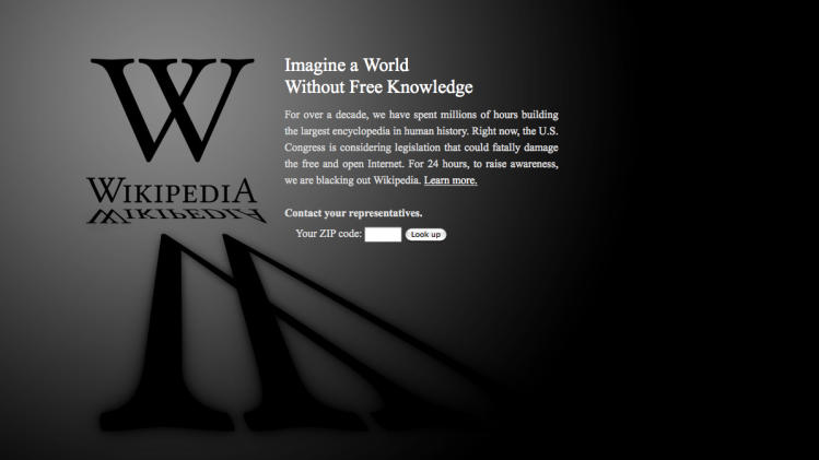 This screen shot shows the blacked-out Wikipedia website, announcing a 24-hour protest against proposed legislation in the U.S. Congress, intended to protect intellectual property that critics say could facilitate censorship, referred to as the