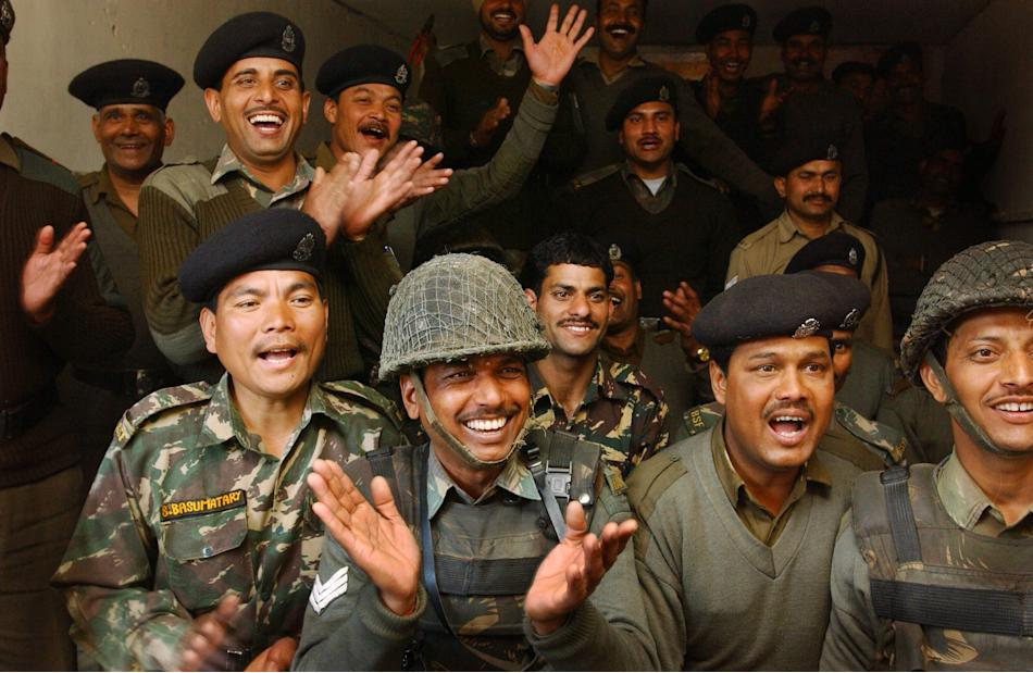 Indian Soldiers Watch The Much Anticipated India v Pakistan Cricket Match