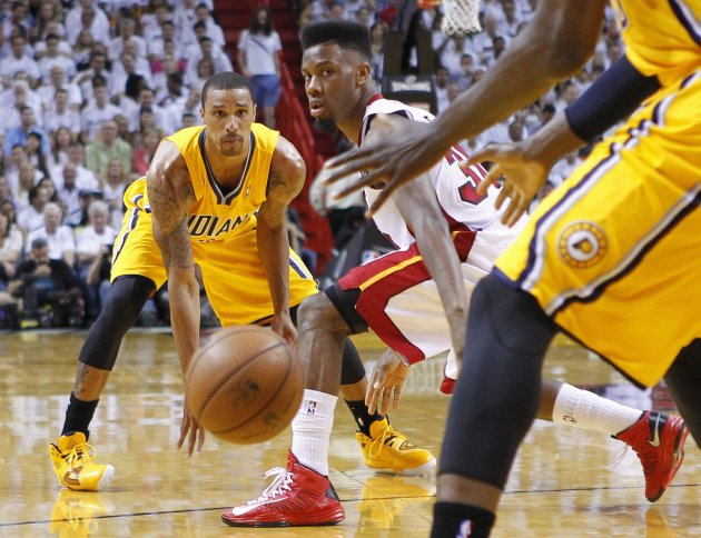 Indiana Pacers' Hill makes a pass past Miami Heat's Cole during Game 2 of their NBA Eastern Conference final basketball playoff in Miami