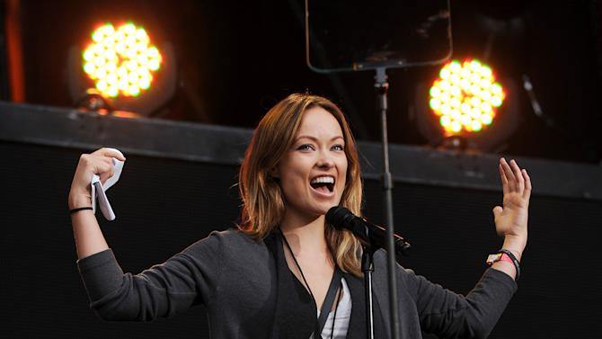 Actress Olivia Wilde speaks at the Global Citizen Festival in Central Park on Saturday Sept. 29, 2012 in New York. (Photo by Evan Agostini/Invision/AP)
