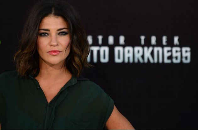 US actress Jessica Szohr poses at the premiere of 'Star Trek Into Darkness&quot; in Hollywood, California on May 14, 2013