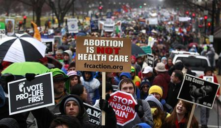 """Anti-abortion demonstrators take part in the """"March for Life"""" in Washington"""