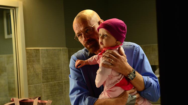 "This image released by AMC shows Walter White, played by Bryan Cranston, after he abducted his daughter Holly in a scene from the season five of ""Breaking Bad."" The Sept. 29, 2013 finale of ""Breaking Bad,"" generated a record 1.24 million tweets. People used the hashtag ""GoodbyeBreakingBad"" nearly 500,000 times on Twitter. (AP Photo/AMC, Ursula Coyote, File)"