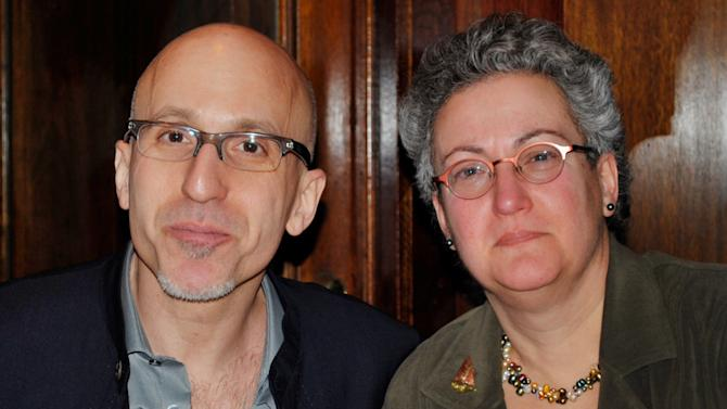"""This February 2010 photo provided by the family shows siblings Benjamin and Nancy Dreyer in New York. Nancy, a lesbian, says she has noticed the different ways society treats gay men and lesbians, partly because Benjamin is gay. The two say it's difficult to compare their experiences because he came out in college, and she in her early 30s. So he was the first to tell their parents. """"They yelled at me. They took you to dinner,"""" Benjamin Dreyer, who's 54 and works in publishing in New York City, now jokes with his sister. (AP Photo/Nancy Dreyer)"""