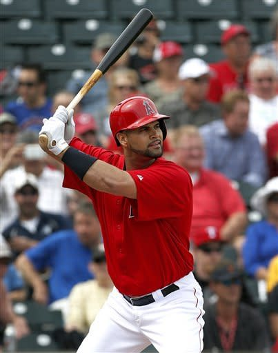 Pujols 0 for 3 in spring training debut for Angels