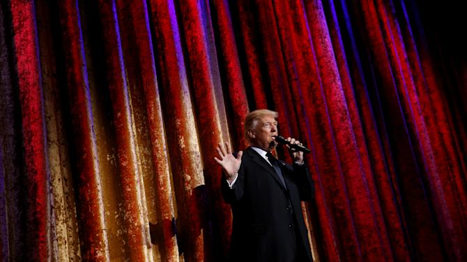 Trump speaks to diplomats at the Presidential Inaugural Committee (PIC) Chairman's Global Dinner in Washington