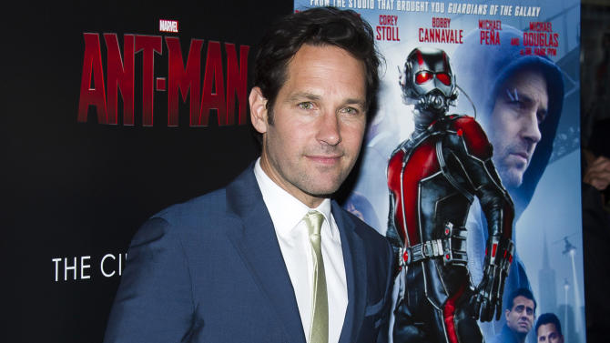 """FILE - In this July 13, 2015 file photo, Paul Rudd attends a special screening of """"Ant-Man"""" in New York. """"Ant-Man"""" is getting a sequel. """"Ant-Man and the Wasp,"""" set for release on July 6, 2018, the studio announced in Thursday, Oct. 8. (Photo by Charles Sykes/Invision/AP, File)"""
