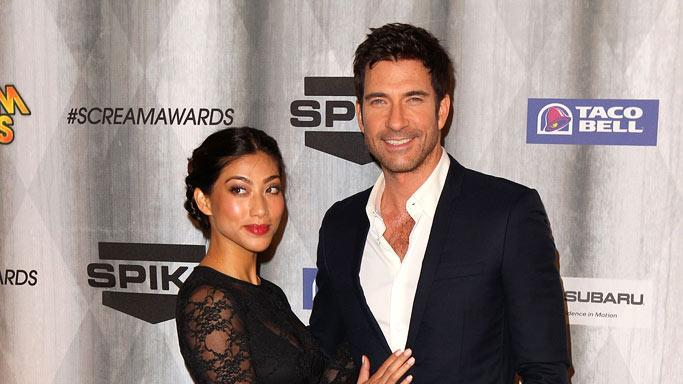 "Dylan McDermott and Shiva Rose arrive at Spike TV's ""Scream 2011"" at Universal Studios on October 15, 2011 in Universal City, California."