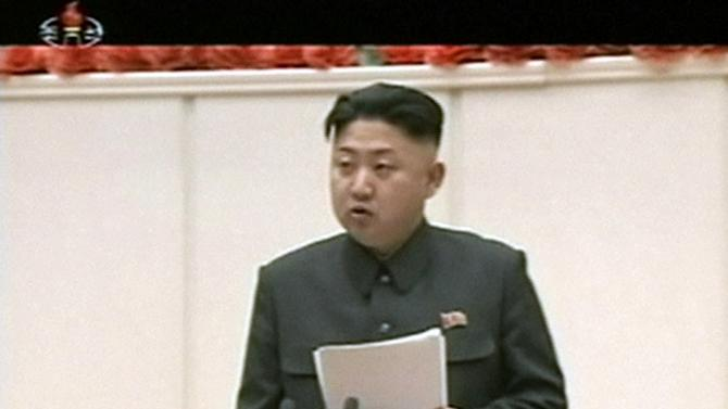 """In this Jan. 28, 2013 image made from video, North Korean leader Kim Jong Un delivers opening remarks at the Fourth Meeting of Secretaries of Cells of the Workers' Party of Korea, in Pyongyang, North Korea. Kim convened top security and foreign affairs officials and ordered them to take """"substantial and high-profile important state measures,"""" state media said Sunday, fueling speculation that he plans to push forward with a threat to explode a nuclear device in defiance of the United Nations. (AP Photo/KRT via AP Video) NORTH KOREA OUT, TV OUT"""