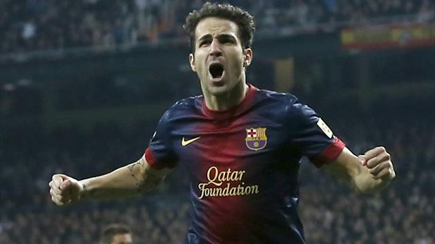 Barcelona's Cesc Fabregas celebrates his goal against Real Madrid (Reuters)