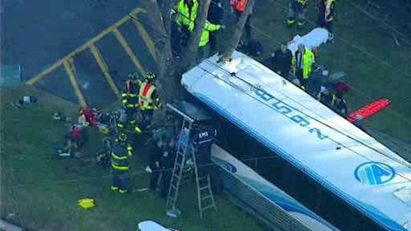 NYC-bound commuter bus, school bus, crash in NJ  (PHOTOS)