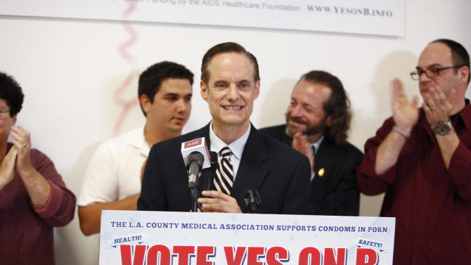 IMAGE DISTRIBUTED FOR AIDS HEALTHCARE FOUNDATION - Michael Weinstein, AIDS Healthcare Foundation, President & Measure B Proponent optimistically speaks to the passing of Measure B at the AIDS Healthcare Foundation Election Headquarters victory party on Tuesday, November 6, 2012 in Los Angeles, California. Early results show strong support for Measure B. (Joe Kohen/AP Images for AIDS Healthcare Foundation)