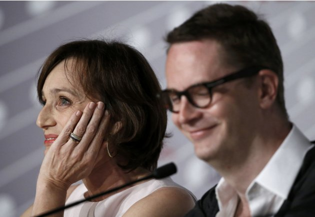 "Director Nicolas Winding Refn and cast member Kristin Scott Thomas attend a news conference for the film ""Only God Forgives"" during the 66th Cannes Film Festival"