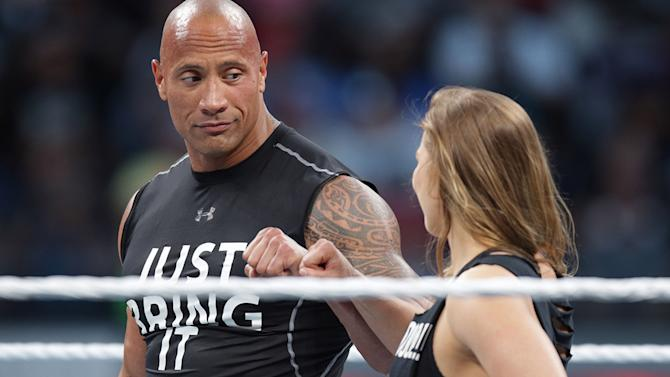 The Rock and Ronda Rousey at Wrestlemania 31