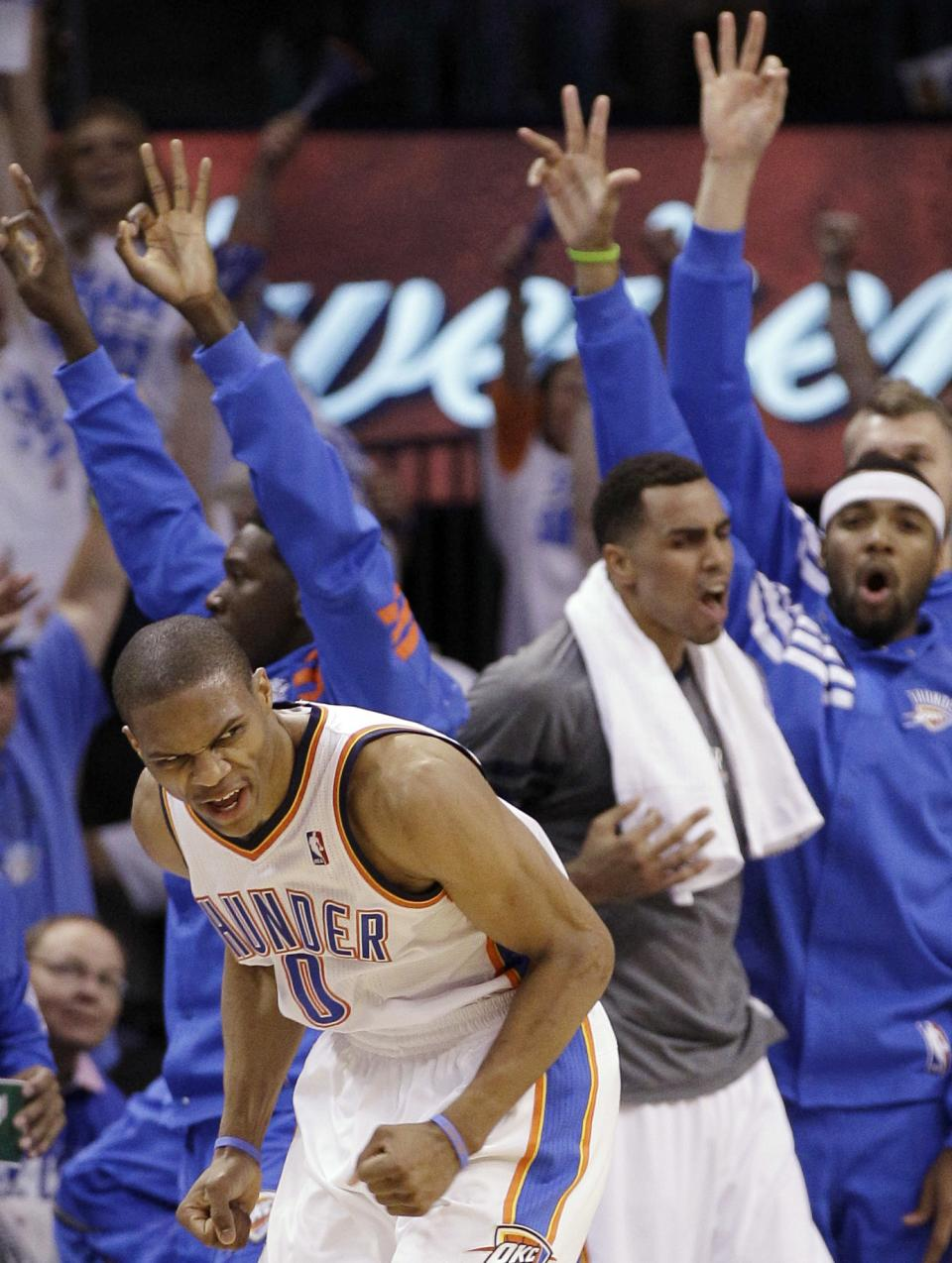 Oklahoma City Thunder guard Russell Westbrook reacts during the first half of Game 4 in the NBA basketball playoffs Western Conference finals against the San Antonio Spurs, Saturday, June 2, 2012, in Oklahoma City. (AP Photo/Eric Gay)