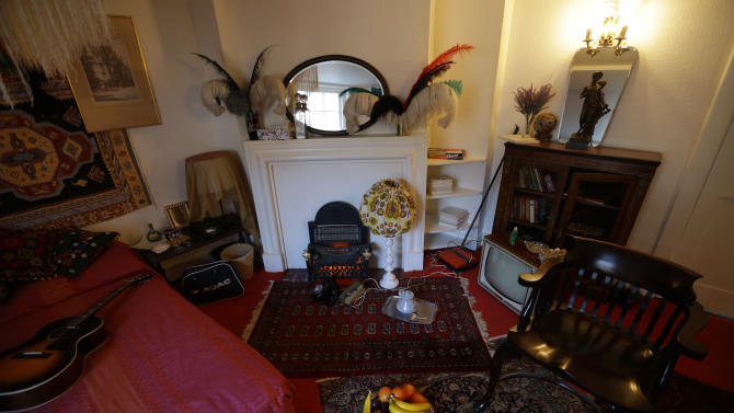 The former bedroom of U.S. musician Jimi Hendrix is seen at the central London flat he used to live in at 23 Brook Street, Monday, Feb. 8, 2016. The flat where Hendrix lived in 1968 and '69 opens to the public as a permanent exhibition on February 10 with the bedroom containing items sourced or crafted to replicate how it would have looked when he lived there. (AP Photo/Matt Dunham)