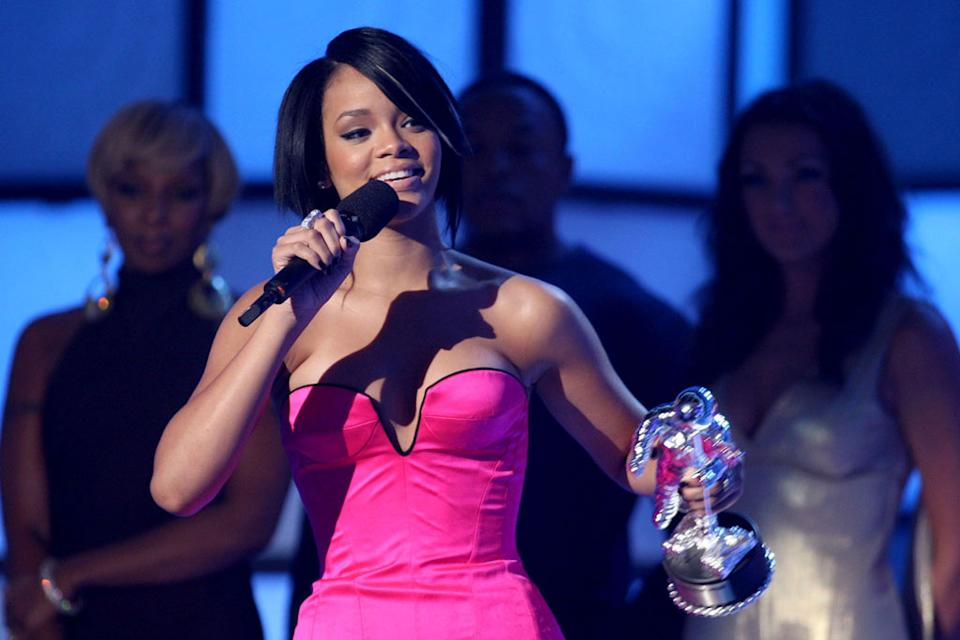 Rihanna during the 2007 MTV Video Music Awards at The Palms Hotel and Casino.