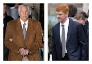 "FILE - In this combination of 2012 file photos, former Penn State University assistant football coach Jerry Sandusky, left, leaves the Centre County Courthouse in Bellefonte, Pa. in handcuffs, and former Penn State assistant football coach Mike McQueary waits in line for a public viewing for Penn State football coach Joe Paterno in State College, Pa. A man who claims to be the unknown victim molested in a Penn State shower by Sandusky in a case that led to Paterno's firing intends to sue the university for its ""egregious and reckless conduct"" that facilitated the abuse, his lawyers said Thursday, July 26, 2012. The identity of so-called Victim 2 has been a central mystery in the Sandusky case, and jurors convicted Sandusky last month of offenses related to him judging largely by the testimony of McQueary, who was a team graduate assistant at the time and described seeing the attack. (AP Photo/Gene J. Puskar)"