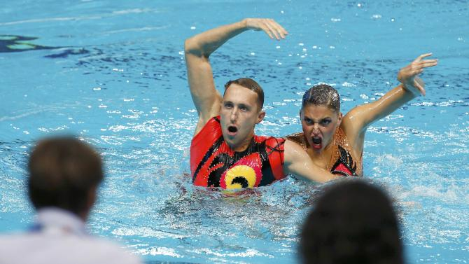 Ukraine's Timofeyev and Reznik perform during the synchonised swimming mixed duet free final  at Aquatics World Championships in Kazan