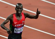 Kenya's Ezekiel Kemboi celebrates after winning the men's 3000m steeplechase final at the athletics event during the London 2012 Olympic Games in London