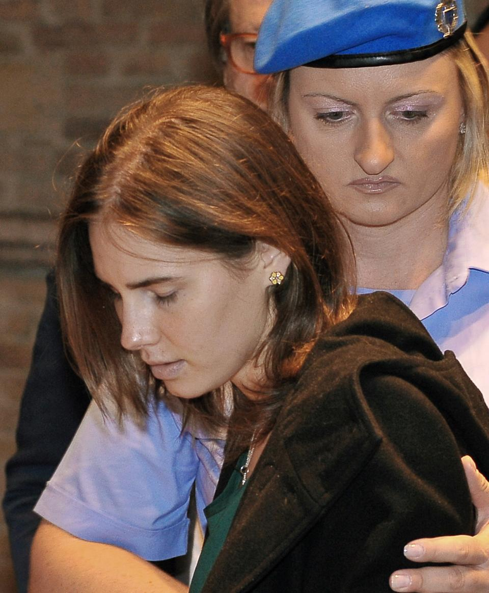 Amanda Knox arrives for an appeal hearing at the Perugia court, central Italy, Monday, Oct. 3, 2011. A tearful Knox told the court that accusations that she killed her British roommate are unfair and groundless. A verdict is expected later today. (AP Photo/Stefano Medici)