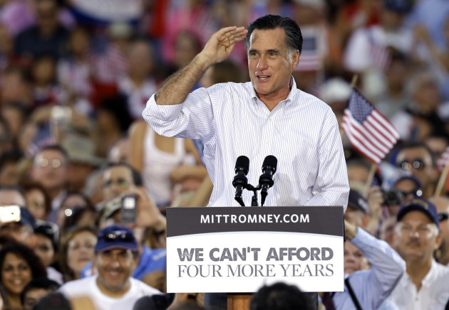 Republican Presidential candidate and former Massachusetts Gov. Mitt Romney salutes to the crowd during a campaign speech Friday, Oct. 5, 2012, in St. Petersburg, Fla. (AP Photo/Chris O'Meara)